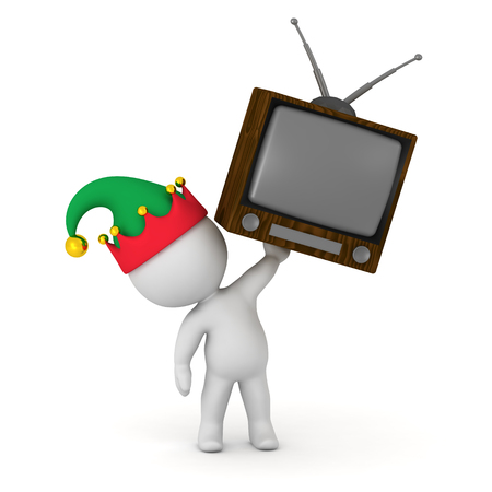 A 3D character in an elf hat holding up a retro television. Isolated on white background. Stock Photo