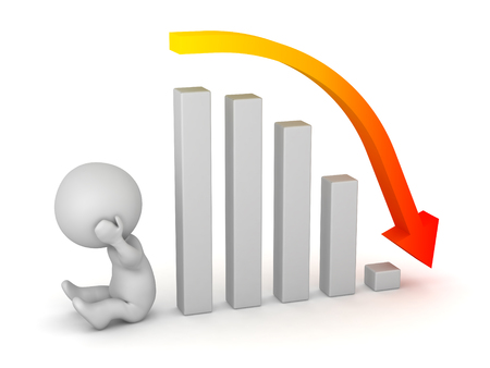 A sad 3D character and a bar chart showing a bad forecast. Isolated on white background. Stock Photo