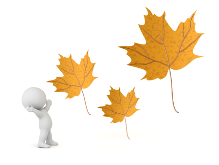 A 3D character cheering and three large autumn leaves. Isolated on white background. Stock Photo