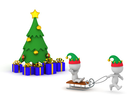 3D characters going sleding during winter holidays with Christmas tree behind them. Isolated on white background.