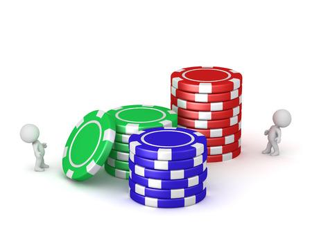 3D charcters en stapels grote poker chips. Geïsoleerd op een witte achtergrond.