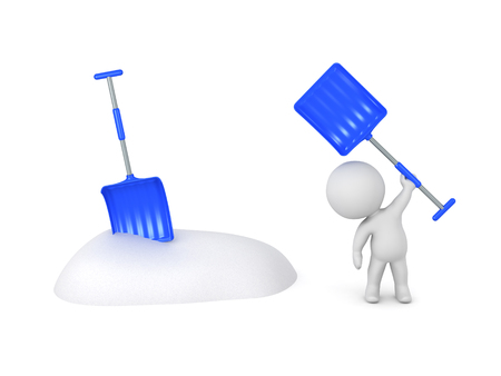 3D character with snow shovels and a small bank of snow. Isolated on white background.