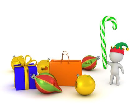 3D character with Christmas decorations and gifts. Isolated on white background. Stock Photo