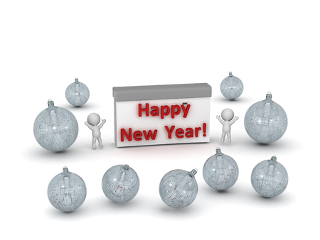newyear: 3D characters celebrating with decorative globes and calendar reading Happy New Year. Isolated on white background.