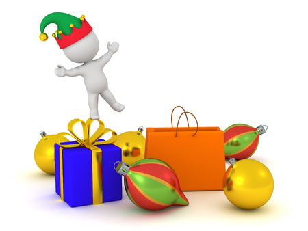 3D character in elf hat standing on Christmas gifts. Isolated on white background.