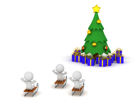 3D characters riding sleds and a Christmas tree with gifts. Isolated on white background. Stock Photo