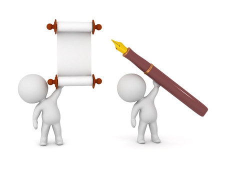 3D characters with a scroll and a fountain pen. Isolated on white background.
