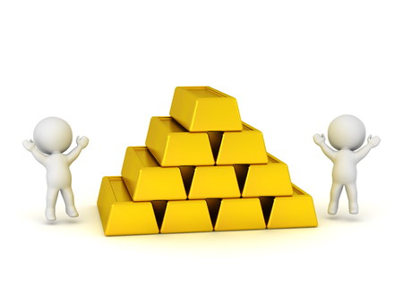 commodities: Personajes 3D saltando y animando al lado de una pila de barras de oro grandes. Aislado en el fondo blanco.