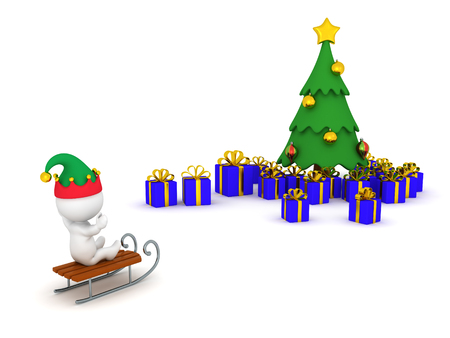 3D character riding sled toward a Christmas tree with gifts. Isolated on white background. Stock Photo