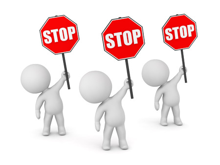 outcry: Three 3D characters holding up stop signs. Isolated on white background.