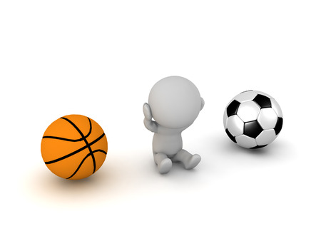 A 3D character that cant choose between basketball and a football. Isolated on white background.