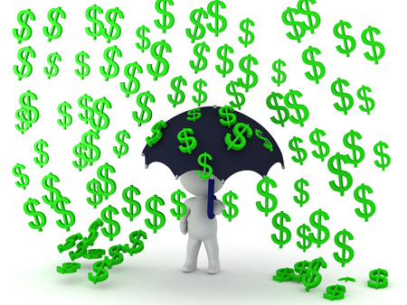conveys: 3D Character holding an umbrella while dollars symbols rain on him which conveys prosperity