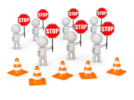 outcry: Several 3D characters with stop signs behind row of orange barriers. Isolated on white background.