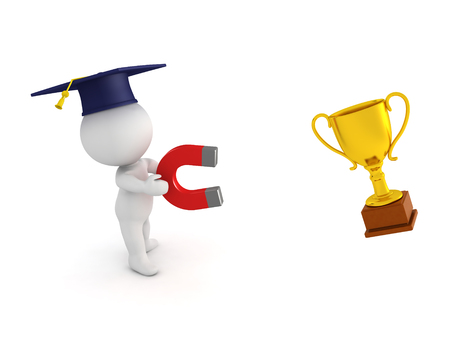 3D Character wearing a graduation cap and holding a horseshoe magnet which attracts a golden trophy.  Stock Photo