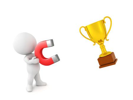 0017 Personaje 3D sosteniendo un gran imán rojo con el que está atrayendo un trofeo dorado.