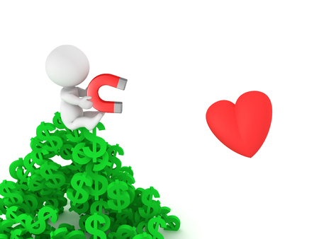bussinesman: A 3D character sitting on top of a pile of dollar symbols while holding a magnet with which he is trying to attract love. Does money help getting a relationship concept.