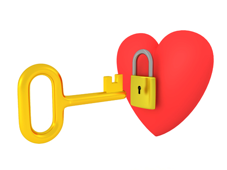 3 D ハートはそれを開こうとすると金色の鍵で、南京錠でロック。 写真素材