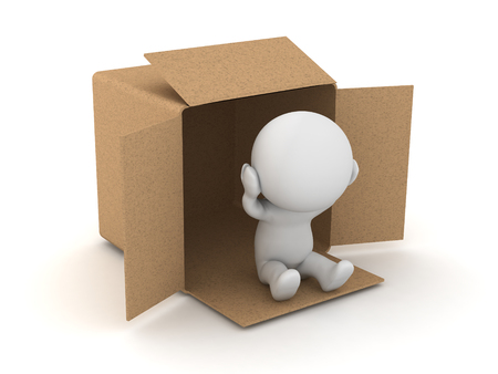 3D Character is homeless and lives ina cardboard box attracting the attention to the issue of poverty.
