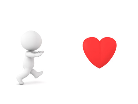 0042 3D Character running towards love  Stock Photo