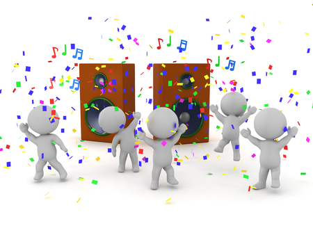 3D Characters partying and dancing next to large speakers with confetti and musical notes floating