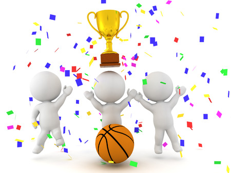 Three 3D characters celebrating the victory of a basketball match with confetti and golden trophy.