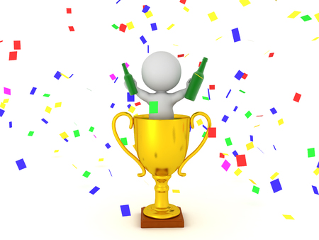 3D Character celebrating in a trophy while holding bottles in hands with confetti flying around him