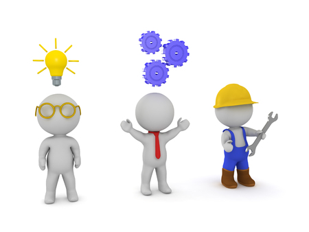 Three 3D characters an inventor, an entrepeneur and a worker. Signifying the three types of work. Mental work, social work and manual labour. Stock Photo