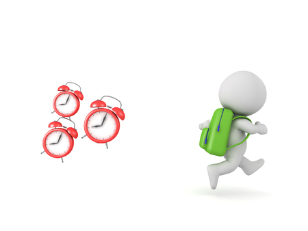 3D School boy wearing backpack is chased by three alarm clocks which depict the act of being late.