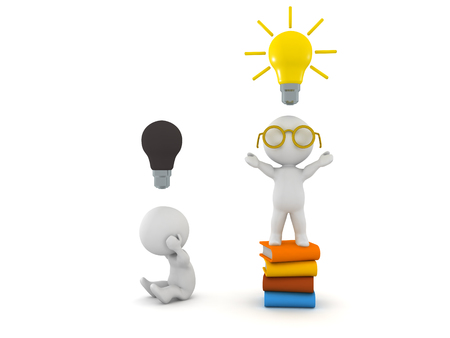 3D Character sitting on top of stack of books with a lightbulb above his head conveying the fact that people who read are more creative.
