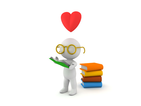 3D character loves reading books. Image that conveys the love for reading.