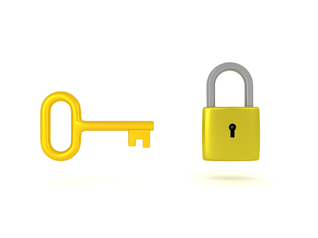 metalic: 3D Illustation of a key and a padlock. Both of them are shiny and golden.
