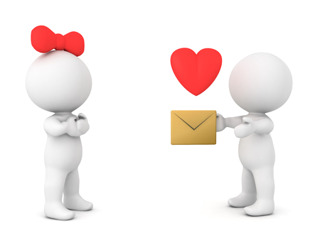 3D Character sending a love letter to a female character. The female character is wearing a bowtie and the love is symbolized by a cartoon heart.