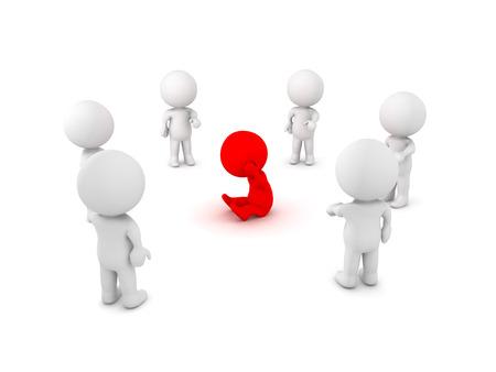 Afbeelding met 3d karakter in het midden gepest en geplaagd door degenen om hem heen. Deze afbeelding toont het concept van sociale isolatie. Stockfoto