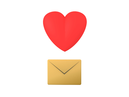 somebody: 3D Icon with letter envelope and cartoon heart. This image can be used as a icon when somebody wants to transmit love. Stock Photo