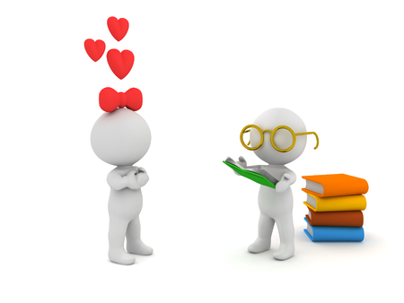 3D Character with glasses and reading books is  loved by female 3D character, conveying the idea that reading makes you sexy.
