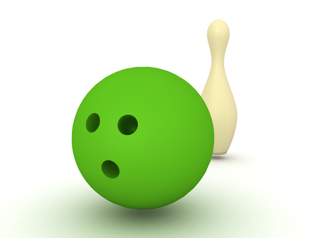 3D Illustration of gren bowling ball with bowling pin behind it. This is image depicts the sport of bowling.