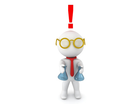 he is different: 3D Character dressed as scientist experimenting with different chemicals with exclamation point above his head signifying he has made a breakthrough. Stock Photo