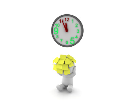 3D Character with lots of sticky notes on him with clock reaching deadline. This image depics the fact that with having a deadline getting closer and closer a person will become more and more stressed. Stock Photo