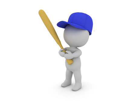 3D Character holding a baseball bat and wearing a blue cap. Stock Photo