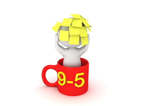 3D Character sitting in a coffee mug with lots of sticky notes on his head. This image conveys the fact the the workers from nine to five are over worked.