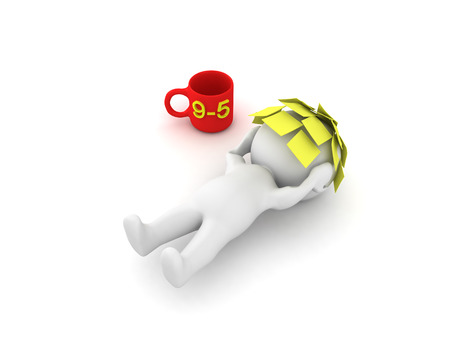 3D Character lying on the floor exhausted with sticky notes on his face wih a nine to five coffee mug.