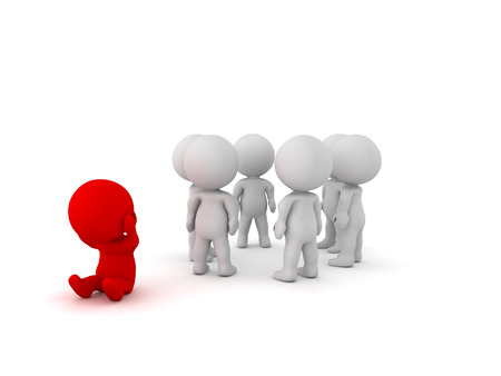 social outcast: 3D Illustration depicting social exclusion of a person. This is highlighted by having the 3D Character painted in red.