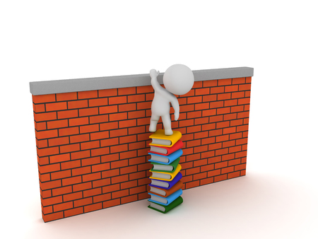 3D Character sitting on top of stack of books which allow him to climb over wall.