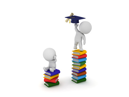 3D Character sitting on stack of books reaching for graduation hat and diploma while another one on a smaller stack cant reach the diploma.