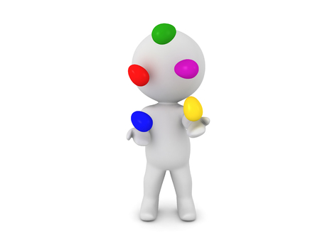conveys: 3D Character juggling colorful easter eggs. This image conveys playfulness.