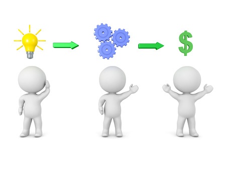 3D illustration depicting how a entrepreneur starts a business. The first stage he comes up with an idea, then he goes to work and after that he reaps the reward.