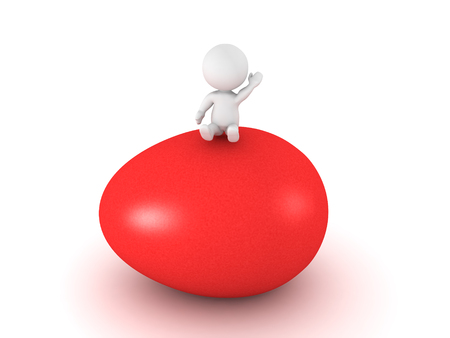 3D Character sitting on giant red easter egg. The egg is shiny and colored red. Stock Photo