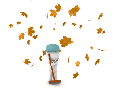 hygene: 3D Character dressed as janitor cleaning fallen autumn leaves. Other leaves are flying and falling through the air.