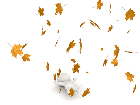 3D Character lying down while autumn leaves are flying around him. The leaves are yellow.  Stock Photo