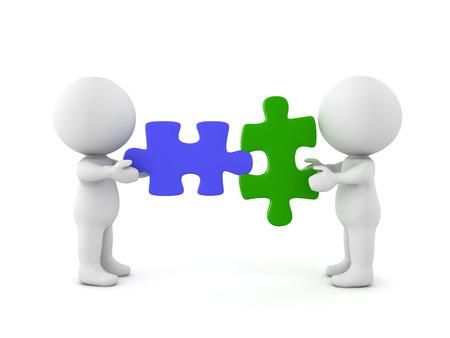 Dos personajes 3D con piezas de rompecabezas compatibles. Imagen que transporta la compatibilidad de cualquier tipo. Foto de archivo - 75730261